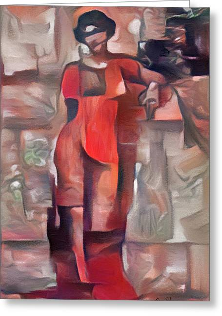 Lady In Red Greeting Card by Georgiana Romanovna