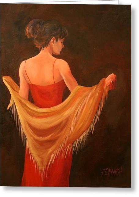 Lady In Red Greeting Card by Lynn Chatman