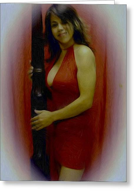 Lady In Red Greeting Card by Maribel McIntosh