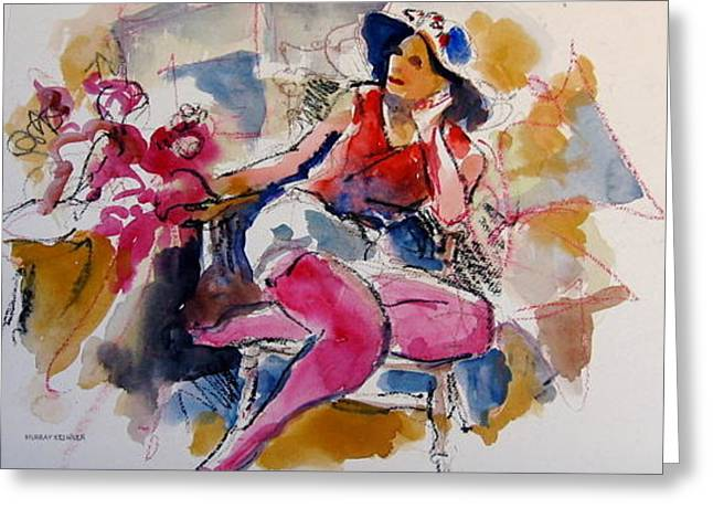 Lady In Red Greeting Card by Murray Keshner