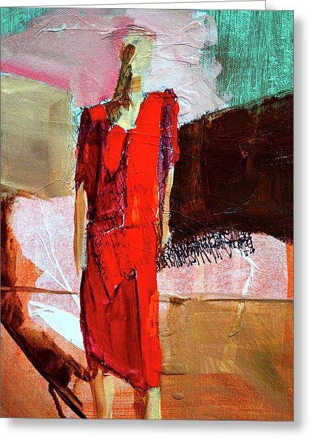 Greeting Card featuring the painting Lady In Red by Nancy Merkle
