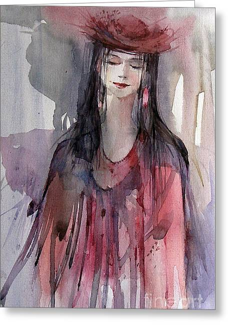 Lady In Red Greeting Card by Natalia Eremeyeva Duarte