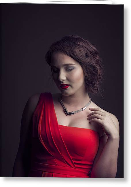 Lady In Red Greeting Card by Peter Lakomy