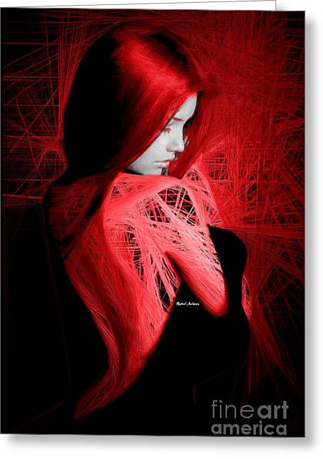Greeting Card featuring the digital art Lady In Red by Rafael Salazar