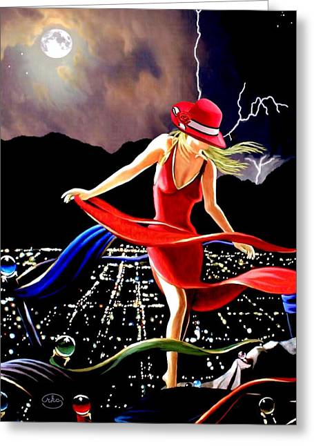 Lady In Red Greeting Card by Ron Chambers
