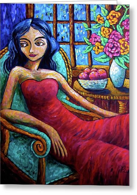 Lady In Red Greeting Card by Sebastian Pierre