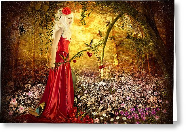 Lady In Red Greeting Card by Svetlana Sewell