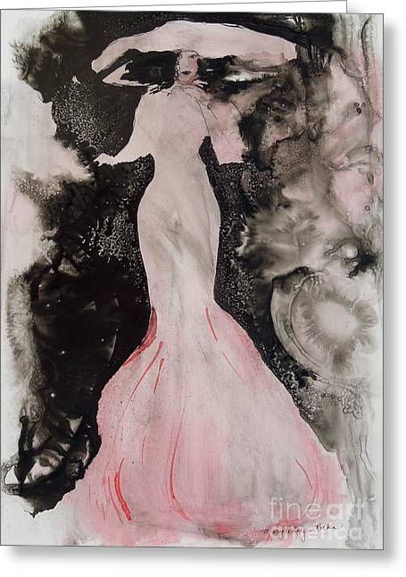 Lady In The Pink Hat Greeting Card by Mary Haley-Rocks