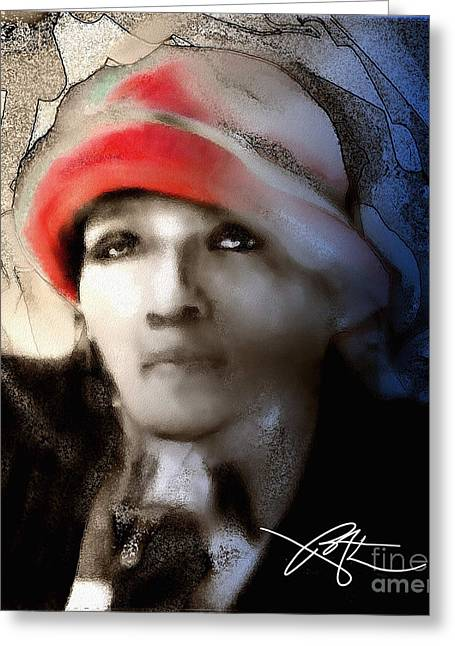 Lady In The Red Hat Greeting Card by Bob Salo