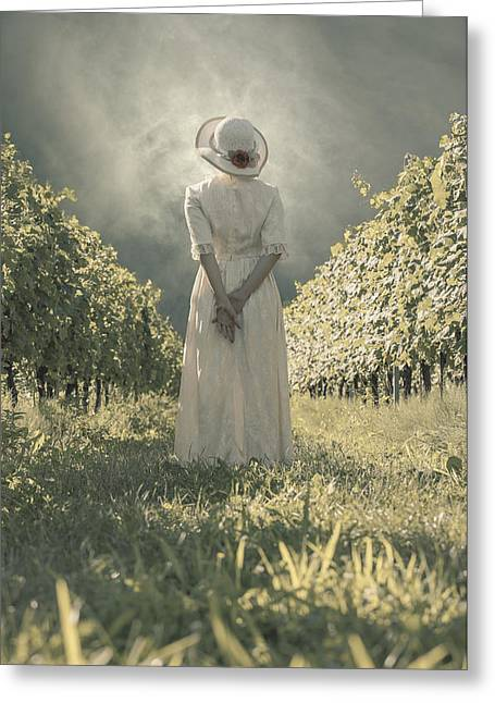Wine Woman Greeting Cards - Lady In Vineyard Greeting Card by Joana Kruse