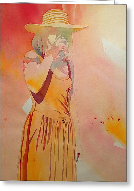 Abstract Woman In Color Greeting Cards - Lady in Yellow Greeting Card by Terry Holliday