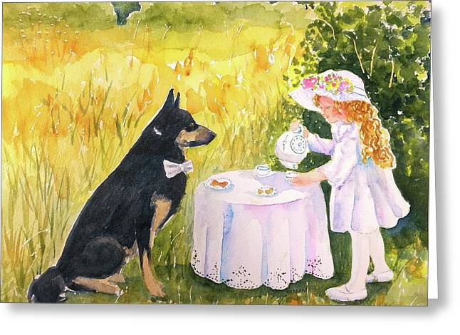 Greeting Card featuring the painting Lady Isabella Invites Mr. Darcy To Tea by Carlin Blahnik CarlinArtWatercolor