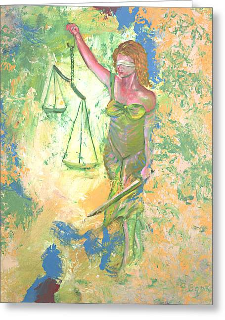 Lady Justice And The Man Greeting Card by Peter Bonk