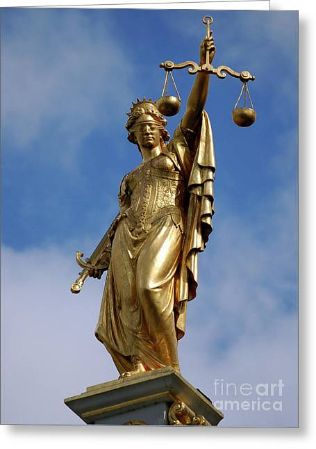 Lady Justice In Bruges Greeting Card