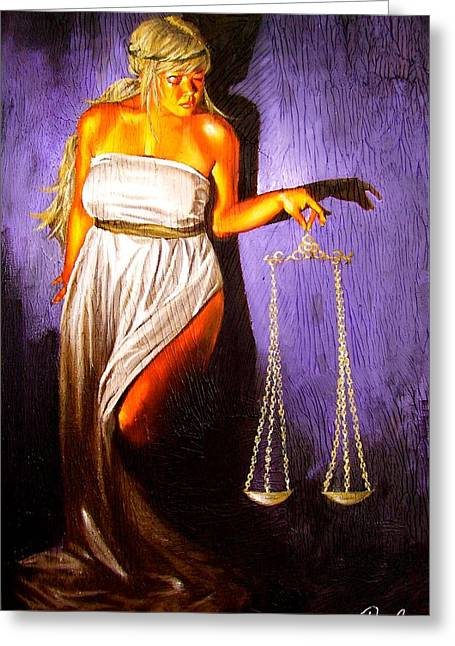 Lady Justice Long Scales Greeting Card