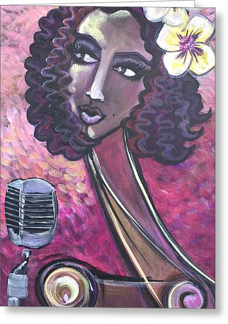 Greeting Card featuring the painting Lady Lauren Midnight Singer by Laurie Maves ART