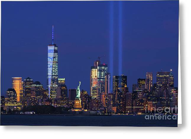 Lady Liberty And Tribute In Light Greeting Card by Regina Geoghan