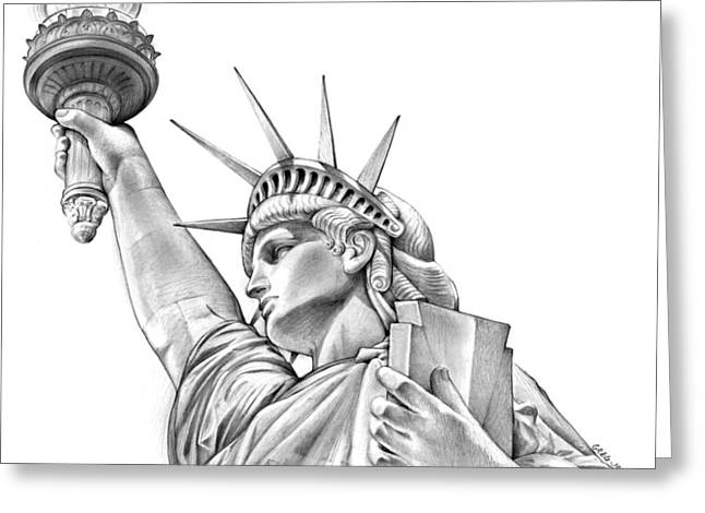 Lady Liberty Greeting Card by Greg Joens