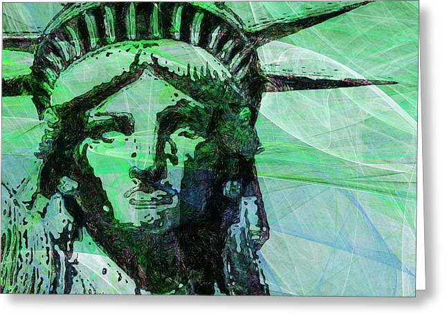 Lady Liberty Head 20150928 Square P100 Greeting Card by Wingsdomain Art and Photography