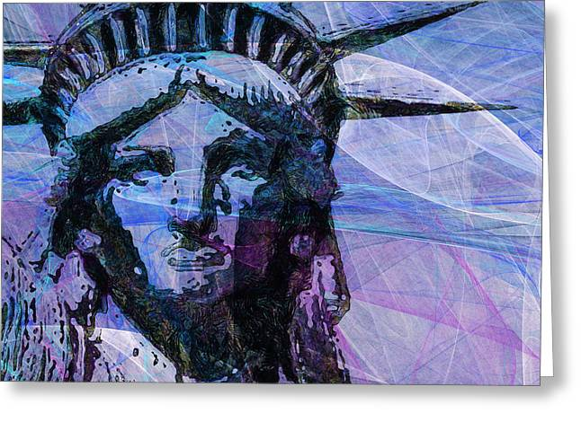 Lady Liberty Head 20150928 Square P180 Greeting Card by Wingsdomain Art and Photography