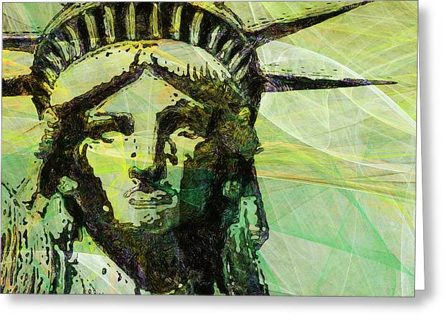 Lady Liberty Head 20150928 Square P28 Greeting Card by Wingsdomain Art and Photography