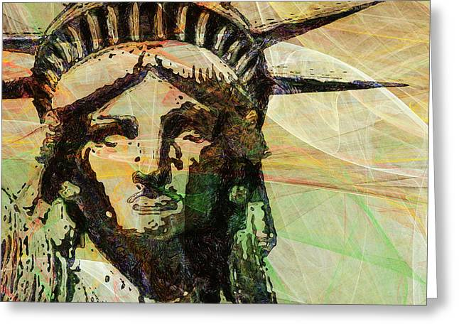 Lady Liberty Head 20150928 Square Greeting Card by Wingsdomain Art and Photography