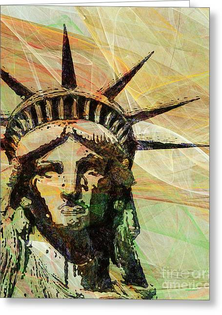 Lady Liberty Head 20150928 Greeting Card by Wingsdomain Art and Photography