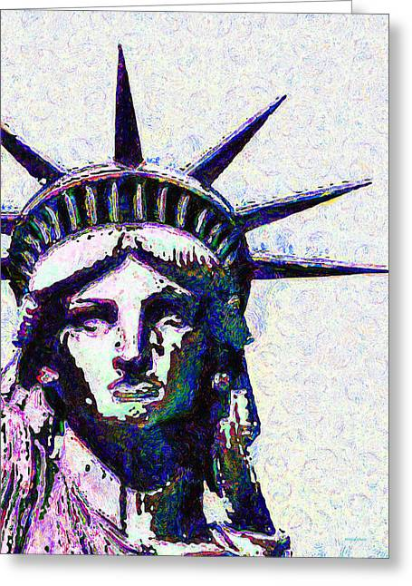Lady Liberty Head 20150928dap Greeting Card by Wingsdomain Art and Photography