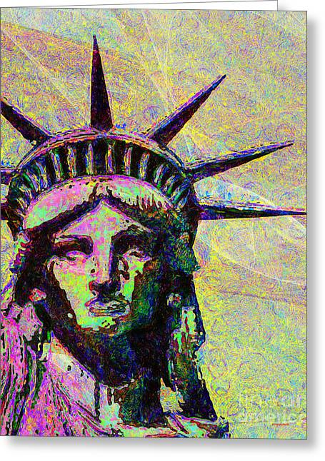 Lady Liberty Head 20150928dap2 Greeting Card by Wingsdomain Art and Photography