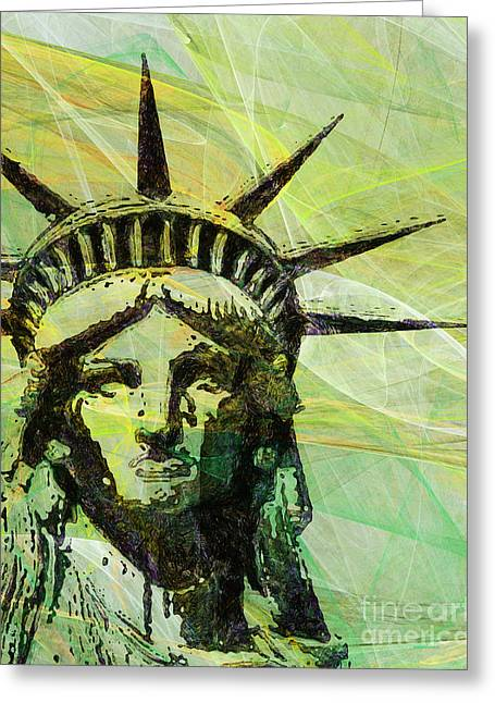 Lady Liberty Head 20150928p28 Greeting Card by Wingsdomain Art and Photography