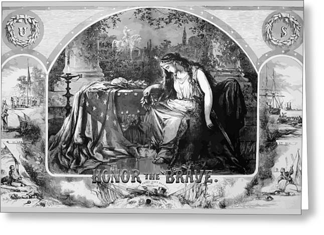 Lady Liberty Mourns During The Civil War Greeting Card