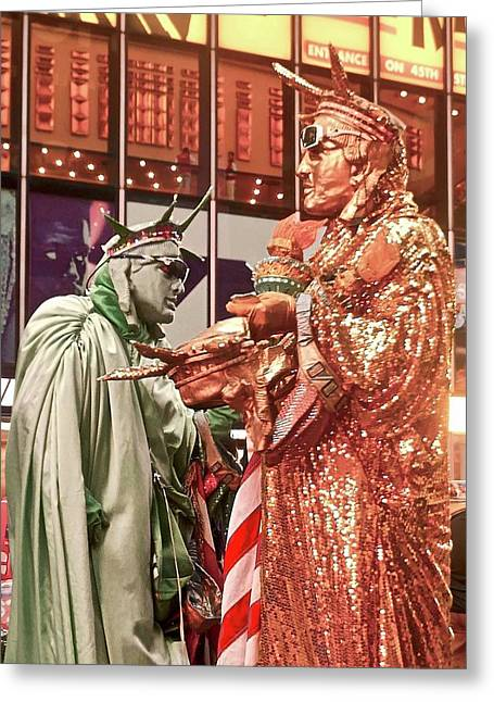 Greeting Card featuring the painting Lady Liberty On Broadway by Joan Reese