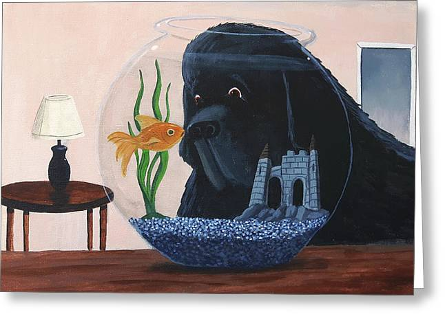 Lady Looks In The Fish Bowl For Mommy And Daddy Greeting Card
