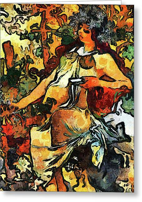 Lady Of Leisure Expressionism Van Gogh Style Greeting Card