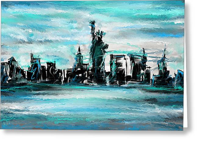 Lady Of Liberty Turquoise Greeting Card by Lourry Legarde