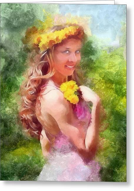 Lady Of The Dandelions Greeting Card by Peter Kupcik