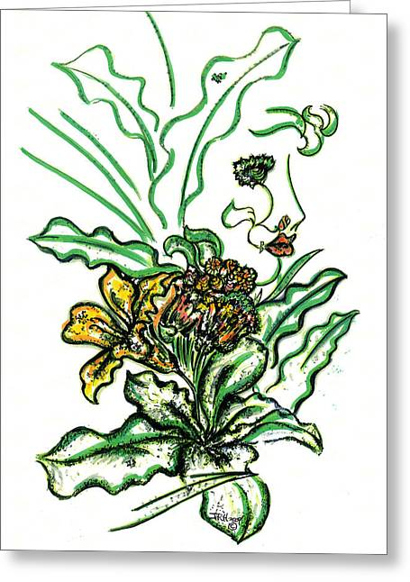 Lady Of The Garden Greeting Card by Judith Herbert