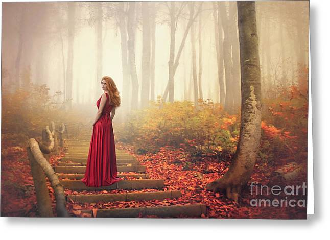 Lady Of The Golden Forest Greeting Card by Evelina Kremsdorf