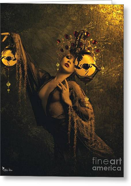 Lady Of The Golden Lamps Greeting Card by Ali Oppy