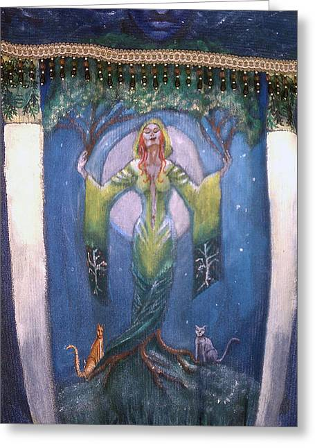 Lady Of The Green Tree Greeting Card