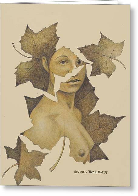 Lady Of The Leaf 3 Greeting Card