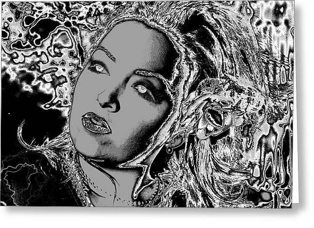 Greeting Card featuring the digital art Lady Of The Night by Holly Ethan