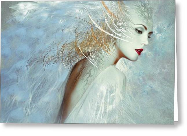 Lady Of The White Feathers Greeting Card