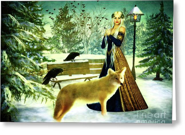 Lady Of Winter Greeting Card by KaFra Art