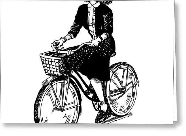Lady On A Bike Greeting Card by Karl Addison