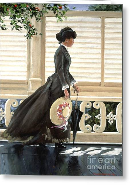 Lady On A Porch Greeting Card by Michael Swanson