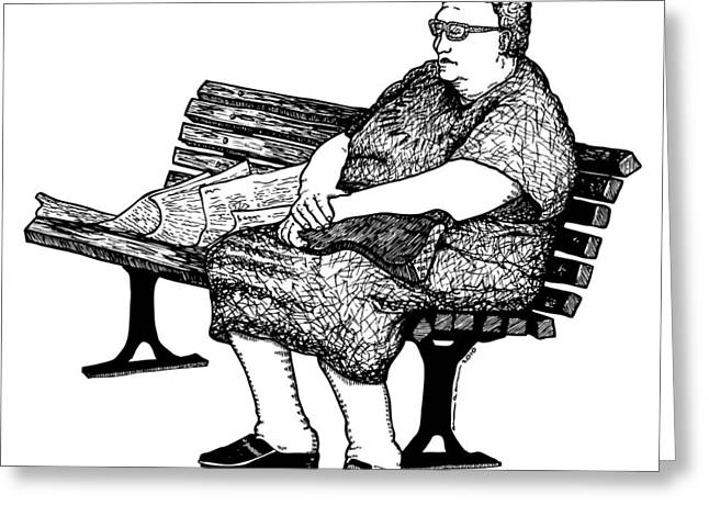 Lady On Bench Greeting Card