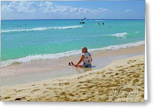 Greeting Card featuring the digital art Lady On The Beach by Francesca Mackenney