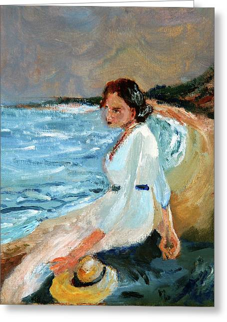 Lady On The Beach Greeting Card by Michael Helfen