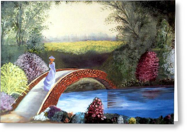Lady On The Bridge Greeting Card by Julie Lamons